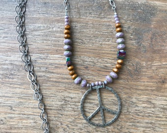 Hippie peace sign long necklace – boho purple and wood and titanium coated necklace - peace wood beaded necklace