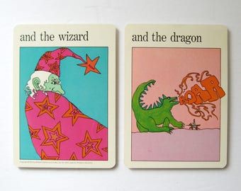 Wizard and Dragon - Vintage MOMA Art Cards - Fantasy Art Typography Art - Museum of Modern Art - Childrens Room Decor - Vintage Art Prints