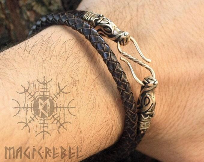 Handmade Genuine Leather Double Loop Bracelet Bronze Wolf Heads Braided Round Three Colors WHB8