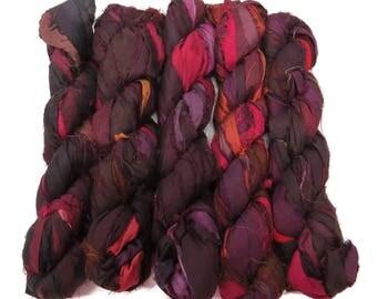 New! Recycled Sari Silk Ribbon, 100g skeins, Blackberry