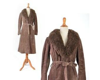 Suede Coat, Shearling Coat, Boho coat, 70s coat, 1970s coat, small coat, brown suede,Bohemian coat, Almost famous coat, vintage coat