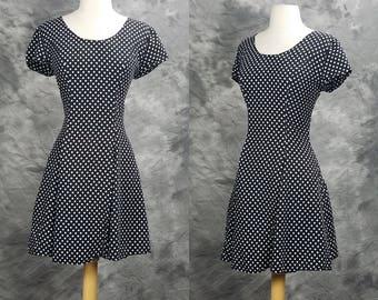 1990s polka dot dress, short sleeve, mini dress, The Gap, summer, sun dress, small