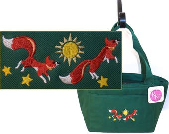 Foxes Sunshine & Stars Lunch Pail Cooler Bag Leaping Fox Monogram Custom Embroidered