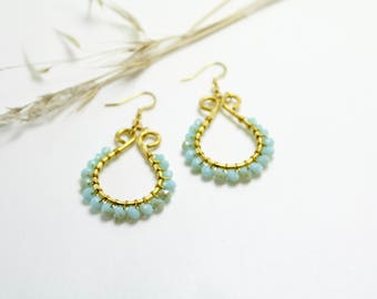 Baby Blue and Hammered Brass Teardrop Earrings