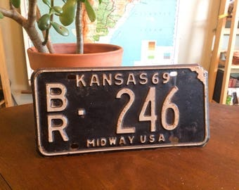 Cool Vintage 1969 Kansas License Plate - Midway USA - Black and White