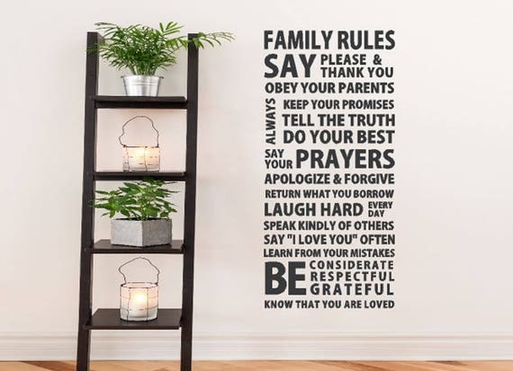 Family Rules Wall Decal House Rules Wall Art Family Wall - House rules wall decals