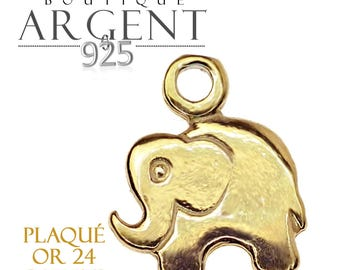 Sterling Silver 925 plated gold elephant charms 15X13mm