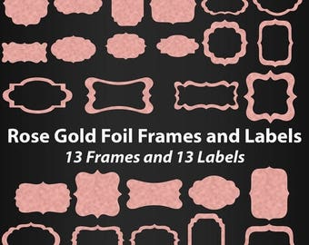 Rose Gold Foil Label Frames Clipart, Gift tags, Commercial Use, Rose gold foil frames, Digital Clip Art, Foil, frame clipart