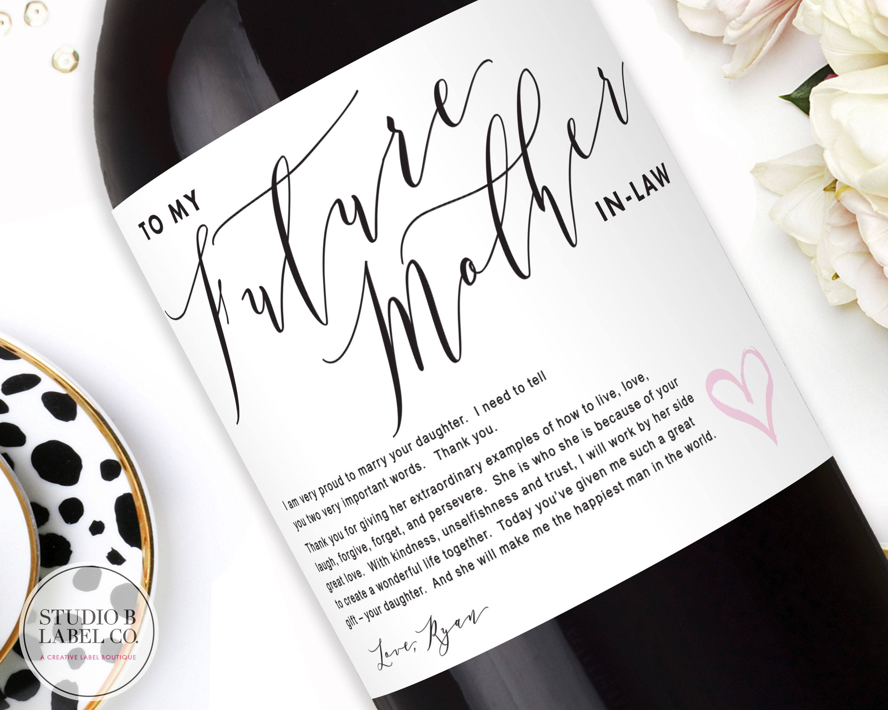 Inlaw Wedding Gift Wine Label