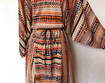 1970's Tribal Print Maxi Dress