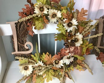 Fall Initial Wreath in browns and greens