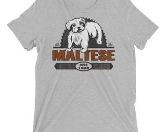Maltese Vintage Style Short sleeve tri-blend t-shirt