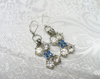 Vintage Rhinestone Bogoff Repurposed Blue and Clear Earrings - silver tone metal - repurposed bogoff pieces - vintage upcycled - lever back