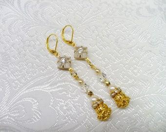 OOAK Vintage Authentic Art Deco Camphor Glass/Ivory PEARL/Rhinestone/Crystal Earrings - gold tone- lever back ear wire - repurposed vintage-
