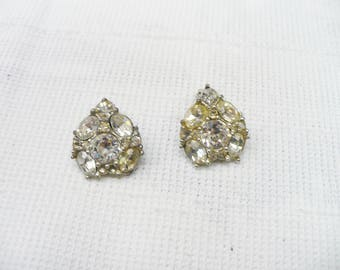 LOVELY Vintage Signed Rhinestone BOGOFF Earrings - silver tone metal - clip on earrings  - vintage rhinestone - Bridal - Heart motif-gift