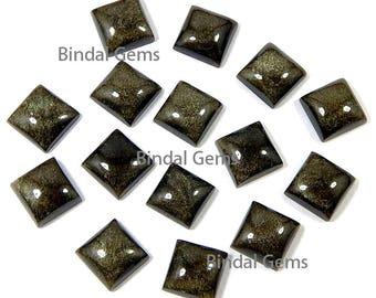 25 Pcs Natural Gold Sheen Obsidian Shape Square Cabochon Loose Gemstone