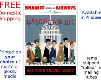 Braniff Washington D.C. - Vintage Airline Travel Poster (505438245)