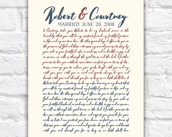 Featured listing image: Anniversary Vows Gift for Husband, Wife, Wedding Vow Art, Personalized Gift for 10th Anniversary, Typography, Hubby Gifts   WF363