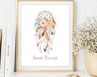 Dreamcatcher Boho watercolor sign, Sweet Dreams Poster, Feathers and Flowers, Tribal Printable, Nursery Wall Art, Digital Print DIGITAL FILE