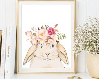 Bunny Print, Peach Pink Watercolor Flowers, nursery art, Baby girl room sign, Kids Wall Art, Playroom poster Printable, DIGITAL FILES
