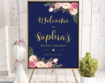 Welcome to Bridal Shower sign, Navy Blue Pink Gold Printable Personalized Floral Bridal Shower Sign, Bridal Shower sign DIGITAL FILES, WS23