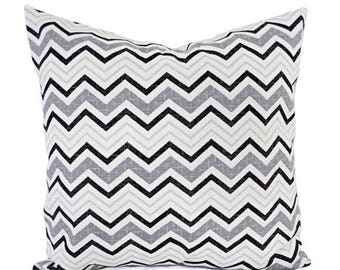 15% OFF SALE Two Chevron Pillow Covers - Black and Grey Pillows - Modern Pillow - Black Pillow - Custom Pillow - 16 Inch Pillow - 18 x 18 Pi
