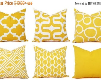 15% OFF SALE Yellow Pillow Cover - Yellow and White Decorative Pillow Cover - Yellow Pillow - Yellow Couch Pillow Cushion Cover Accent Pillo