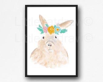 Rabbit Print Bunny Rabbit Wearing A Floral Crown Watercolor Painting Wall Art Animal Art Print Wall Decor Woodland Animal Print Unframed