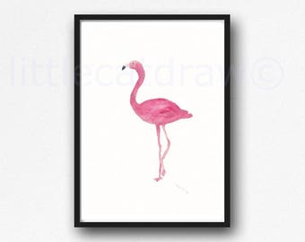 Flamingo Print Bird Watercolor Painting Print Pretty Pink Bedroom Wall Decor Bird Lover Gift Flamingo Art Print Wall Art Unframed