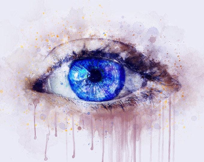water color eye, eye art print, watercolor eyes, blue eye, eye wall art, eyes wall decor, fantasy eye, enchanted whispers art
