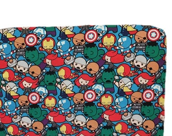 Boy Crib Bedding - Red - Superhero - changing pad - crib sheet