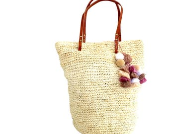 Chic Straw Beach Bag, Oversized Beach Bag, Summer Tote, Natural Straw Handbag