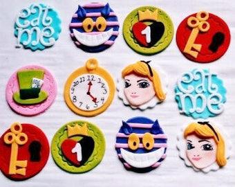 12 ALICE IN WONDERLAND Fondant Cupcake Toppers
