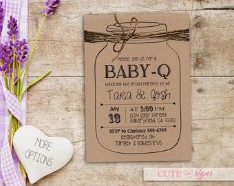 BabyQ Baby Shower Invite Mason Jar, Baby-Q Invite, Rustic Baby Shower Invitation Digital Download