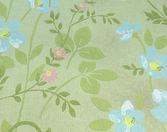 Wallpaper Roll Vintage Green Flowers 1950's era Great Grandma's Pattern Craft Paper Card Making Paper