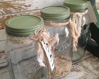 OUTOFBUSINESSCLEARANCE vtg Half Gallon Ball jars,farmhouse kitchen,canning jars,repurposed cookie jars,pantry storage,cottage style,moss gre