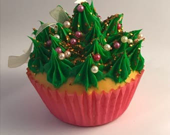 Green Frosting Cupcake Personalized Christmas Ornament