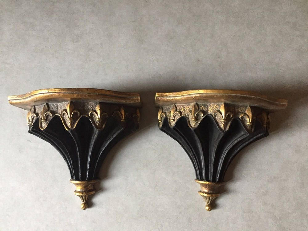 Fleur De Lis Wall Shelf Sconces ,Pair Black And Gold