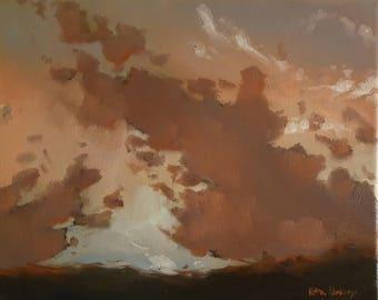 California Sky at Sunset- Original Landscape Oil Painting- Purple Clouds- Skyscape- Warm Loose Impressionist West Coast Nature Art