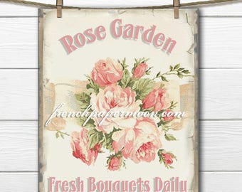 Digital Rose Garden Graphic, Shabby Chic roses, Floral Iron On Fabric, Large Image Download