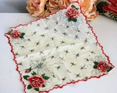 Vintage Handkerchief Red White And Green Flower Print / Vintage Hanky / Hankercheif Handkercheif Vintage Linens Shabby Cottage Chic
