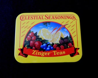 1980s Celestial Seasonings Zinger Tea Tin - Compact size - Excellent condition - Beautiful artwork - Rare