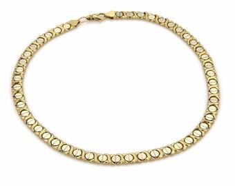 14643 - Estate 14k Yellow White Gold Hugs & Kisses Chain Necklace