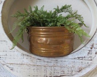 Vintage Copper Pot Planter with Brass Handles - Copper Round Pot