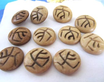 Petroglyph Bone Buttons, Carved Buffalo Bone Cabachons, Antiqued Bone Buttons, Matching Round Bone Pieces, Ethnic Bone Cabs, 11 Pcs 08312