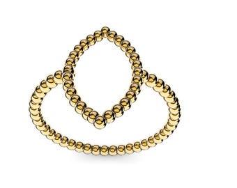 14 k gold vintage design shape of a marquis