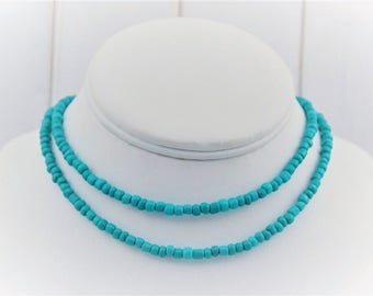 Turquoise necklace, Turquoise jewelry, Long necklace, Layering necklace, Simple necklace, Long beaded necklace, Turquoise beaded necklace