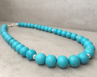 Turquoise bead necklace, Beaded turquoise necklace