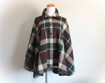 Vintage Mod 1960's 1970's Wool Plaid Poncho Brown Green Beige Plaid Cape Long Caplet Wool Blanket Cape Poncho Heavy Thick Button Down Swing