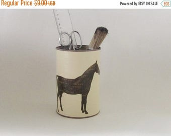 ON SALE Horse tin can ,  upcycled desk organizer , round pens holder , brushes cup , horse desktop , upcycled tin can ,  , utensil holder
